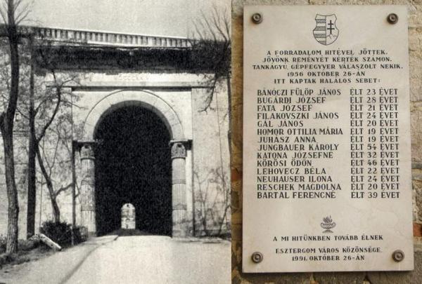 Sötétkapu és a vérengzés helyén az áldozatok nevét őrző emléktábla