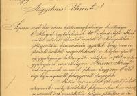 11. Sopron gratuláló felirata, mellékletben a törvényhatóság határozatával, mely szerint a helyi gyalogsági laktanyát Ferenc Józsefről szeretnék elnevezni