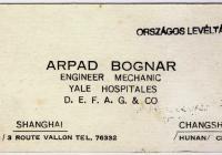Bognár Árpád névjegye (Jelzet: MNL OL K 103-7-Bognár Árpád.)